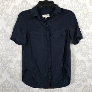 Anthro Porridge Navy Blue Top Button Front